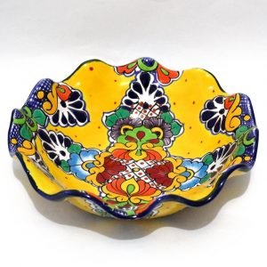 mexican pottery fruit bowl talavera majolica yellow