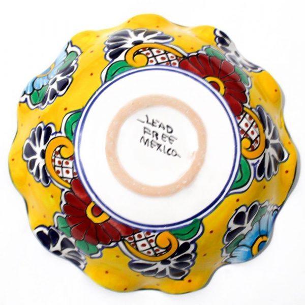 mexican pottery fruit bowl talavera majolica yellow