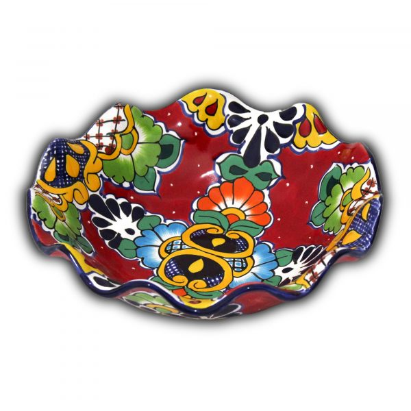 mexican pottery fruit bowl talavera majolica red