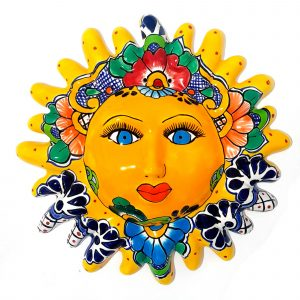 sun face of mexican talavera yellow