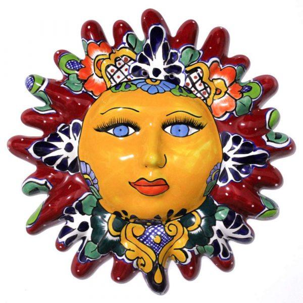 sun face talavera red artesano
