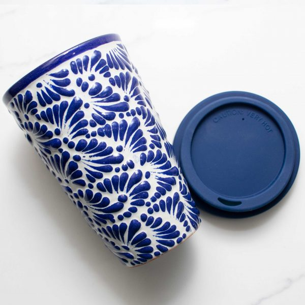 talavera pottery tumbler blue