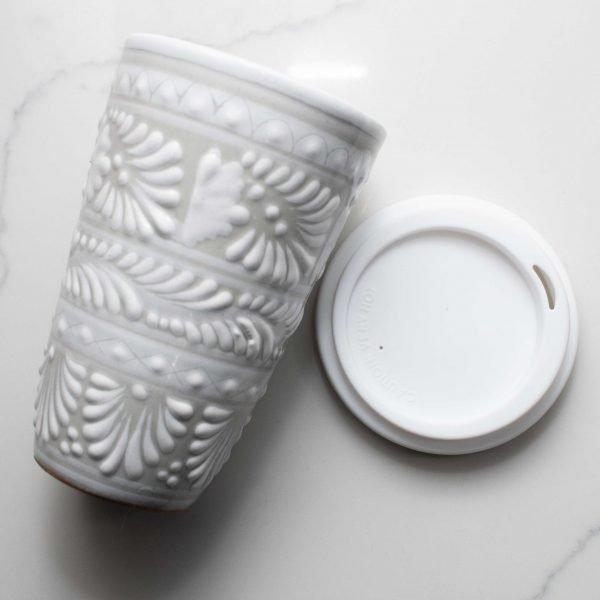 talavera pottery tumbler white
