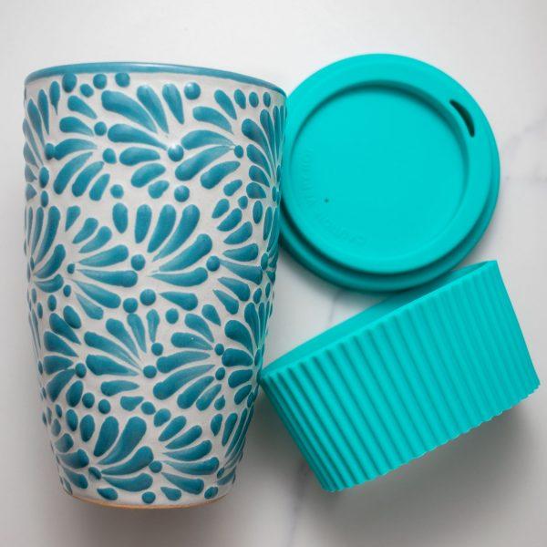 mexican tumbler talavera pottery mint