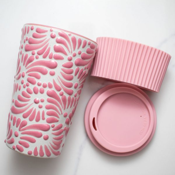 mexican tumbler talavera pottery pink